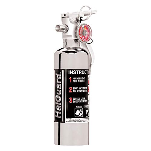 H3R Performance HG100C HalGuard Chrome Clean Agent Fire Extinguisher - 1.4 lbs