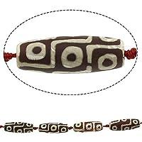 1pc Braun Weiß 9 Augen Tube tibetischen Achat Dzi Perlen, Natürliche Edelstein-Stein Große Brennweite Feng-Shui-Armband-Anhänger 40mm x 14mm - 17mm Loch