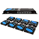 1080P 1x8 HDMI Extender Splitter by Orei Multiple Over Single Cable CAT5e/6/7 Full HD with IR Remote EDID Management - Up to 400 Ft - Low Latency - Full Support, 1x8 HDMI Extender - 395 FT (HD-EX108)