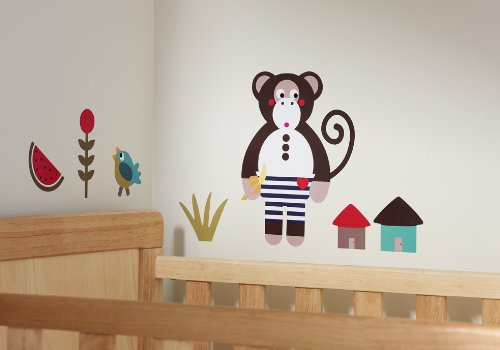 Olive&Moss - WALL-MONK - Autocollants de Mur - Michael le Singe - Multi Colore - 0-60 months