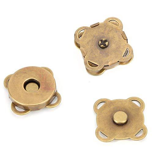 Desconocido HEEPDD 10 Piezas 18.5 mm botón magnético broches para Coser artesanía monederos Bolsos Ropa de Cuero(Bronce 18.5mm)