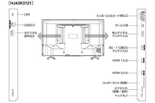『ハイセンス 43V型 液晶 テレビ HJ43K3121 フルハイビジョン 外付けHDD裏番組録画対応 2016年モデル』のトップ画像