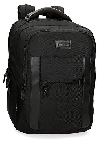 Pepe Jeans Allblack Sac à dos double compartiment adaptable au chariot pour ordinateur portable Noir 31x44x15 cms Polyester 15,6' 20.46L