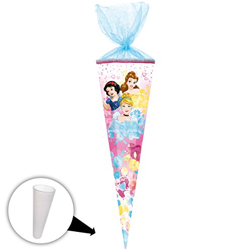 alles-meine.de GmbH Schultüte -  Disney Princess - Schneewittchen - Belle - Cinderella  - 50 cm - rund - mit Tüllabschluß - Zuckertüte - mit / ohne Kunststoff Spitze - Nestler ..