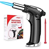Vimzone Butane Torch, Blow Torch Refillable Kitchen Culinary Torch Lighter with Lock and Adjustable Flame for BBQ, Baking, Brulee Creme and Desserts(Butane Gas Not Included) (Black)