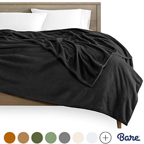 Bare Home Kids Microplush Fleece Blanket - Twin/Twin Extra Long - Ultra-Soft Velvet - Luxurious Fuzzy Fleece Fur - Cozy Lightweight - Easy Care - All Season Premium Bed Blanket (Twin/Twin XL, Black)