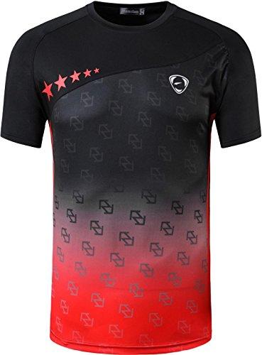 jeansian Herren Sport Tee Shirt T-Shirt Tshirt Tops Dry Fit Function Kurzarm Laufen LSL232 Black XL