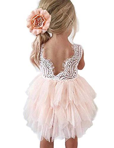 Baby Toddle Girls Tutu Dress Short Sleeves Stripe Tulle Skirts Mini Dress (White Pink, 2T)