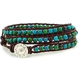 Chrysocolla Gemstone Beads Genuine Leather Wrap Bracelet