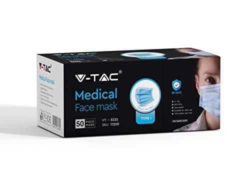 V-TAC 50x Mundschutzmasken Mundschutz Einwegmaske (Type I Medizinische Gesichtsmaske)