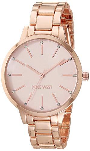 Nine West Reloj de pulsera para mujer con detalles de cristal, Rosado/Oro rosa, Movimiento de cuarzo.