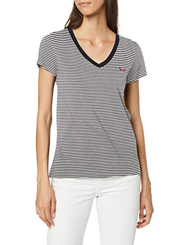 Levi's Vneck Camiseta, Azul (Annalise Stripe Cloud Dancer 0004), Medium para Mujer