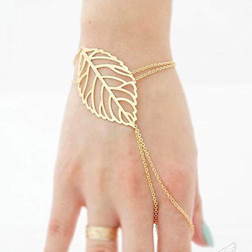 TseenYi Anillo de hoja bohemia, pulsera de oro esclavo, cadena de mano ajustable, joyería para...