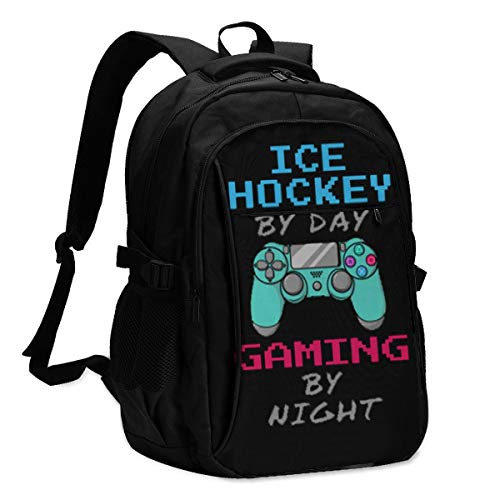 High Capacity Travel Laptop Water Resistant Anti-Theft Backpacks with USB Charging Port and Lock for Men Women College School Student Casual Hiking W/Print Ice Hockey by Day Gaming by Night