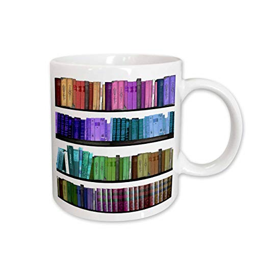 3dRose mug_112957_1 Colorful Bookshelf Books Rainbow Bookshelves Reading Book Geek Library Nerd Librarian Author Ceramic Mug, 11-Ounce