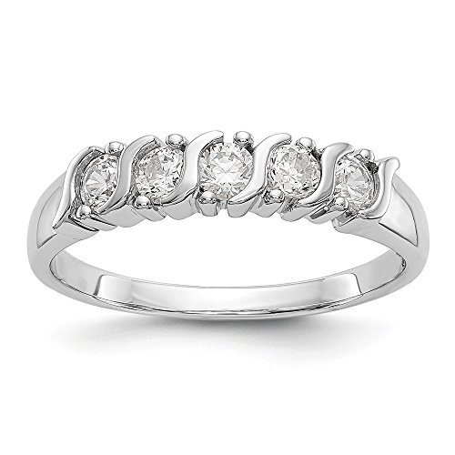14k White Gold 5 Stone Diamond Wedding Ring Band Size 7.00 Bridal Fine Jewellery For Women Gifts For Her