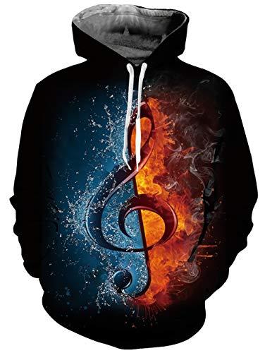 uideazone Herren Damen Musik Hinweis Kapuzenpullover Musik Sweatshirt Pullover für Musikfestival Karneval Party
