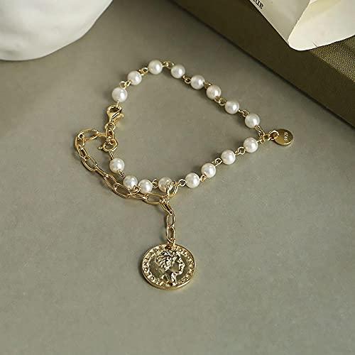 Shangwang - Pulsera asimétrica ancha con cadena de perla, plata de ley para pulseras de mujer