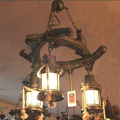 JIAHONG Araña Luces pendientes, Lámpara antigua pendiente de la cuerda de cáñamo, Personalidad American Retro Bar Resina luz creativa personalizada de estar luz de la habitación (Color : Brown)