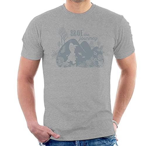 Disney Frozen II Olaf Silhouette Brave The Journey Men's T-Shirt Heather Grey