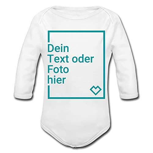 Spreadshirt Personalisierbare Babygeschenke Selbst Gestalten mit Foto und Text Wunschmotiv Baby Bio-Langarm-Body, 56, Weiß