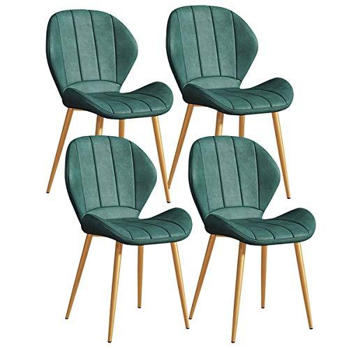 YAWEDA Conjunto de 4 Piezas Vintage Sillas Comedor, sillas Cuero PU Cocina con Patas Metal Negro Asiento y el Respaldo Oficina del salón (Color : Green)