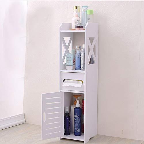 MorNon Badezimmerschrank Schmal 15x15,5x80cm Stehender Badschrank Toilettenschrank Hochschrank Badmöbel Schrank Modern in Weiß Top für Badezimmer aus PVC