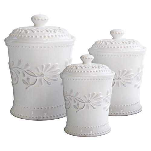 American Atelier Bianca Leaf Canister Set 3-Piece Ceramic Jars in 20oz, 48oz and 80oz Chic Design With Lids for Cookies, Candy, Coffee, Flour, Sugar, Rice, Pasta, Cereal & More