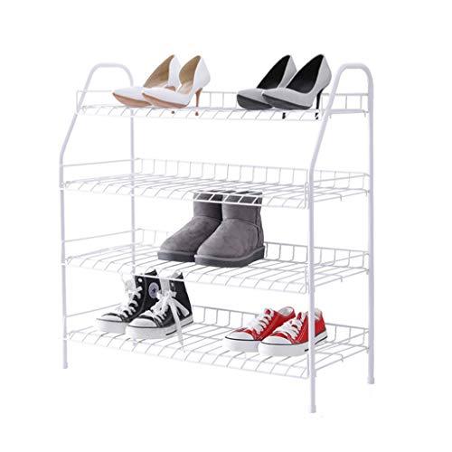 BORE Zapatero 4 Niveles metálicos Zapatos Estante Moderno Simplicidad Zapato Estante fácil ensamblar Zapato Zapato Zapato Almacenamiento Organizador Accesorios de Inicio Zapateros (Color : White)