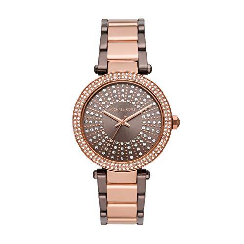 Michael Kors Women's Parker Three-Hand Brown-Tone Stainless Steel Watch MK6910