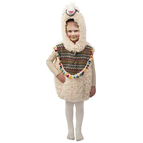 NET TOYS Niedliche Lama-Weste mit Kapuze für Kinder - 104, 3 - 4 Jahre - Zauberhaftes Unisex-Kostüm Poncho Kamel - Der Hit für Kinder-Karneval & Kostümfest