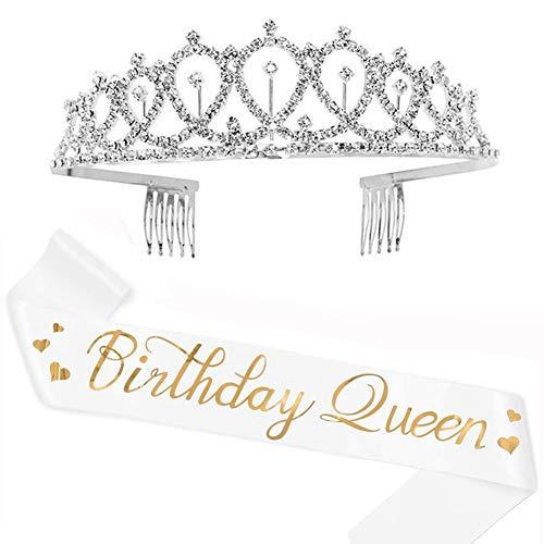 Argento Glitter Compleanno Corona Tiara Strass Cristallo Cerchietto con Pettine, Bianca Birthday Queen Fusciacca Gadget per Decorazioni Festa di Compleanno Regali per Ragazze Donna