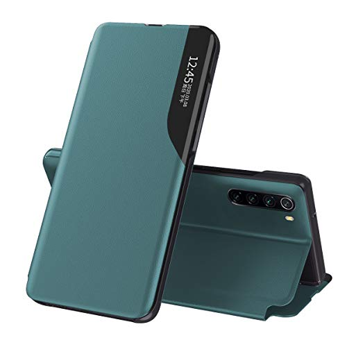 Oihxse Case per Huawei P20 Lite Smart View Cover con Funzione Stand e Chiusura Magnetica, Portafoglio Flip Silicone Trasparente Custodia in Pelle Originale Cover-Verde