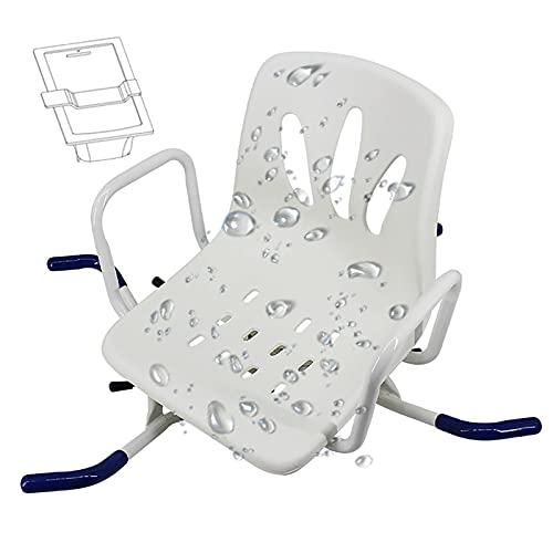 Taburete de ducha con barandilla de acero inoxidable, apto para personas de mediana edad y ancianos con discapacidades
