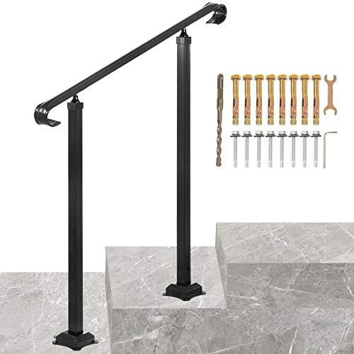 VEVOR Wrought Iron Handrail, Fit 1 or 2 Steps Outdoor Stair Railing, Adjustable Front Porch Hand Rail, Black Transitional Hand railings for Concrete Steps or Wooden Stairs with Installation Kit