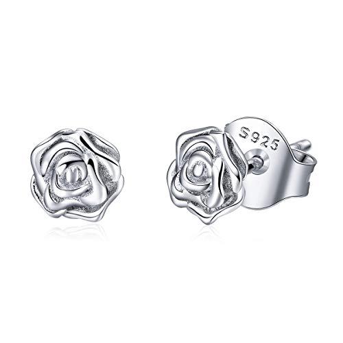 BAMOER 925 Sterling Silver Rose Flower Earrings for Women Girls White Gold Plated Silver Stud Earrings Gift for Girls Women