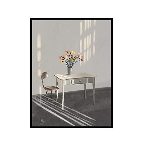 chtshjdtb Moderne Mode Pastoral Blumen Tisch Stillleben Leinwand Malerei Wandkunst Poster und Druck für Wohnzimmer Home Decor -50X70 cm No Frame 1 Pcs