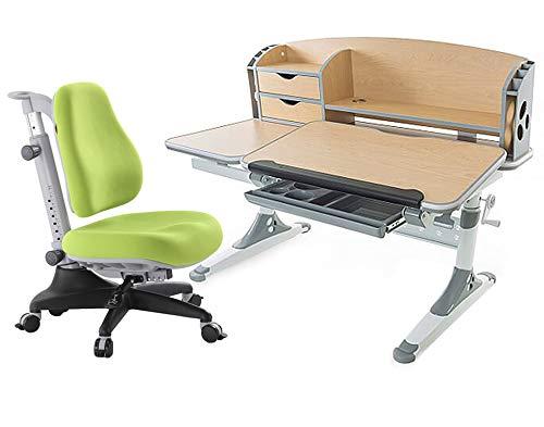 Ergodesk Bologna Bureaustoel, regelbaar met opzetstuk, in hoogte verstelbaar Een bruin bureau met groene stoel