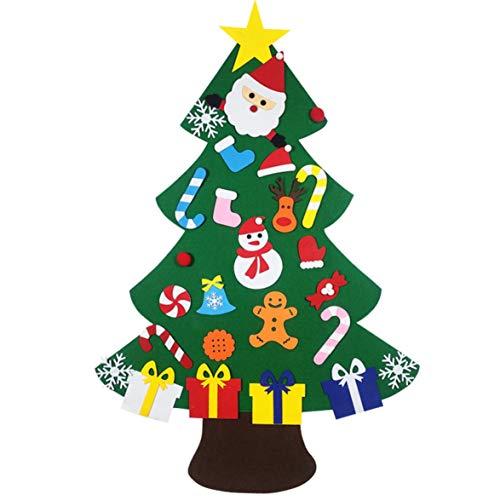 Logicstring Albero di Natale in Feltro Decoration Decorazione Natalizia Puzzle Fai da Te Fatto A Mano Albero di Natale Tridimensionale per Bambini Bambini Regali di Natale Porta Appeso A Parete