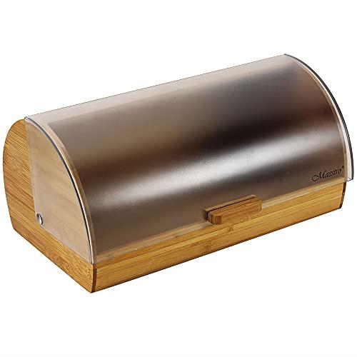 Maestro MR-1674S Panera de Mesa para Guardar Pan, Tapa Deslizante, Contenedor para Almacenamiento Pan y Bollería, Diseño Elegante, Acero Inoxidable, Madera, Bread Box