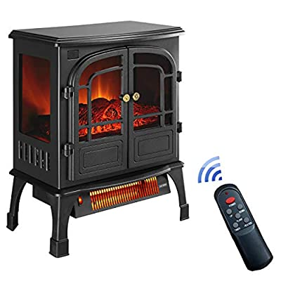 Klismos 1500W Electric Fireplace Heater with Remote Control, Freestanding Fireplace Stove with Thermostat- ETL Certified, 3D Flames,Over-Heat Protection,12H Timer(Black)