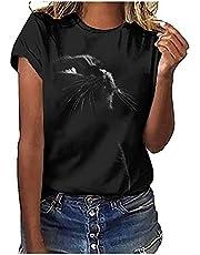 Zwart T-shirt voor dames, korte mouwen, bovenstuk, schattige kattenprint, T-shirt, ronde hals, blouse, tops, vrouwen, casual, zomerblouse
