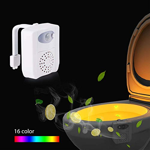Lumière de nuit de toilette, mouvement activé bol de toilette lumière, capteur de mouvement LED lumière avec 2pcs aromathérapie, UV 16 couleurs changeant siège veilleuse pour salle de bain/toilettes