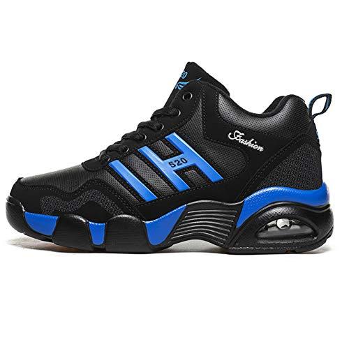 Hombres Zapatillas de Deporte Unisex Cojín de Aire Malla Ante Patchwork Zapatos con Cordones Antideslizante Forro cálido Caminar al Aire Libre Correr Senderismo Puntos Zapatos