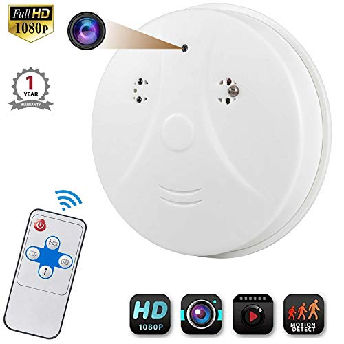 Hidden Camera Smoke Detector, Viiwuu Surveillance Camera Motion Detection Hidden Cameras Nanny Cameras with USB Interface,Remote Controller, Bottom View Hidden Security Camera - No Wi-Fi Version