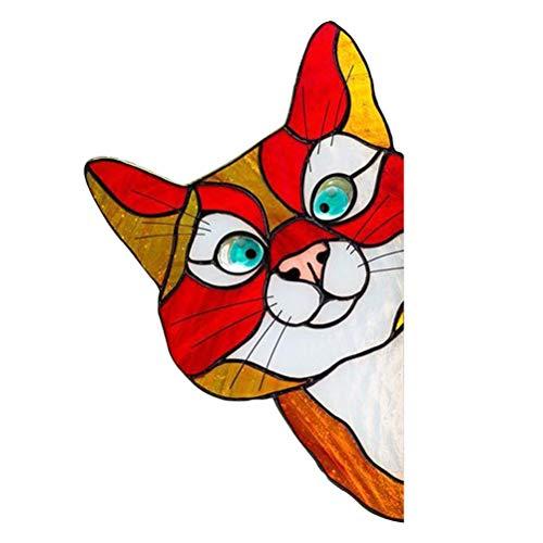 Katyma Fensterbilder Bunte Haustier Glas Fenster Aufkleber Schöne Selbstklebende wasserdichte Sticker Kreative Cartoon Katze Glas Dekoration Aufkleber