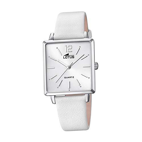LOTUS Reloj Modelo 18712/1 de la colección Trendy, Caja de 29,00/27,00 mm Plata con Correa de Piel Blanco para señora