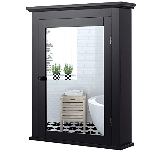 Tangkula Bathroom Cabinet, Mirrored Wall-Mounted Storage Medicine Cabinet, Cabinet with Single Door & Adjustable Shelf in 5 Positions, Multipurpose Cabinet for Bathroom, Vestibule, Bedroom (Black)