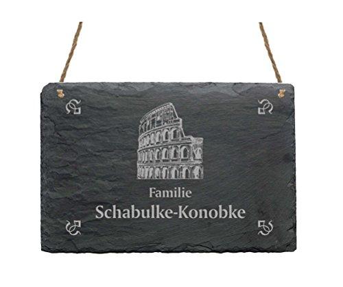 Leistenen bord « Familie -IHR NAME- » met KOLOSSEUM motief - 22 x 16 cm - deurbordje van leisteen - Romeins Italië pak