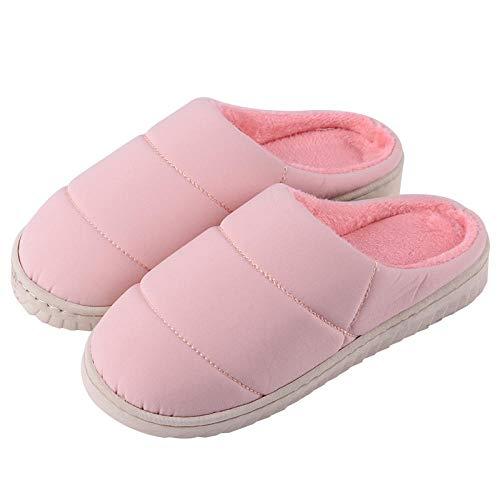 HausschuheDamenBaumwolleSlippers,Mode Winter Warm Einfache Pink Daunendecke Komfortable Innen Dick Unten Verschiebbaren Mute Weichen Boden Home Hausschuhe Aus Baumwolle Für Schule Wohnheim Zimmer